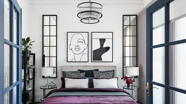 A stylish bedroom at the property.