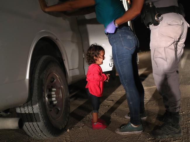 Donald Trump's tirade comes after the heartbreaking image of a sobbing two-year-old girl at the US border went viral. Picture: Getty Images