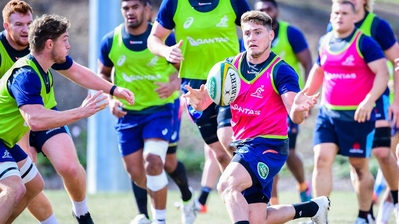 James O'Connor joins in attack drills at a Wallabies hopefuls camp in Brisbane.
