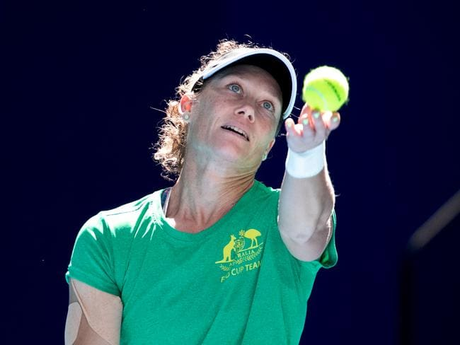 Sam Stosur will pair with Ash Barty for the must-win doubles match on Sunday evening.