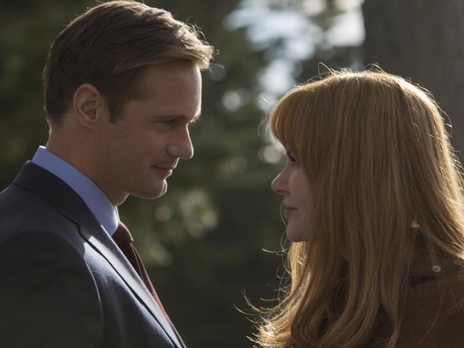 Alexander Skarsgard (Perry Wright) and Nicole Kidman (Celest Wrights) on the Season 1 set of Big Little Lies. Picture: HBO