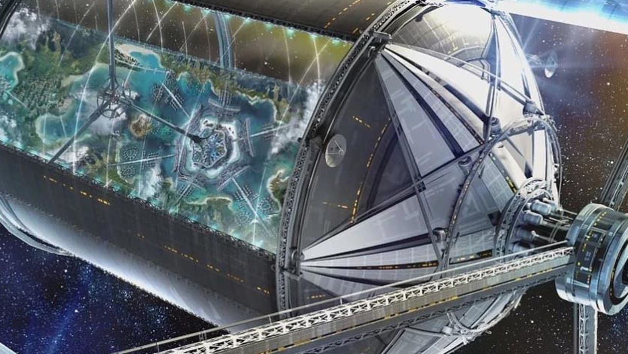 An outside view of one of the space bases, looking into a city below. Picture: Blue Origin