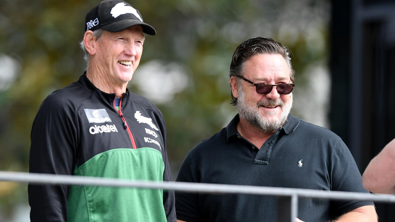 Actor Russel Crowe and coach Wayne Bennett seen during a South Sydney Rabbitohs training session in Sydney.