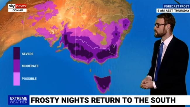 Frosty nights are set in large parts of Victoria, Tasmania and South Australia.
