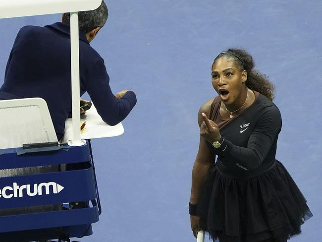 Serena Williams argues with the chair umpire during the US Open women's final. Picture: Greg Allen/Invision/AP