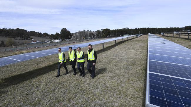 Australian Opposition Leader Bill Shorten, shadow Assistant Treasurer Andrew Leigh and shadow Environment Minister Mark Butler are seen during a visit to Mount Majura Solar Farm in Canberra. Picture: AAP/Lukas Coch