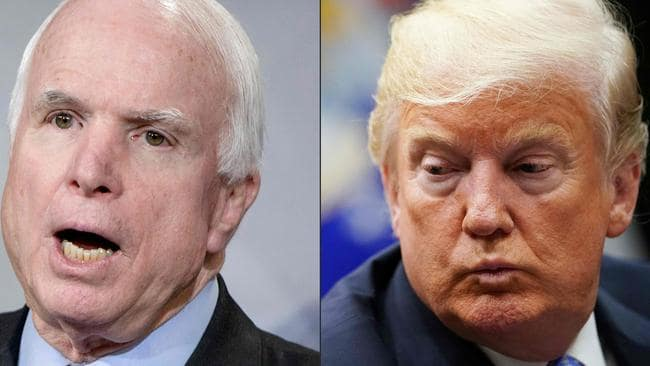 The late Senator John McCain and US President Donald Trump did not see eye-to-eye. Now Trump has lost McCain's usually solidly Republican home state of Arizona. Picture: BRENDAN SMIALOWSKI and MANDEL NGAN / AFP.
