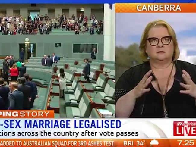 Magda Szubanski talks about same-sex marriage being legalised on Sunrise. Picture: Sunrise