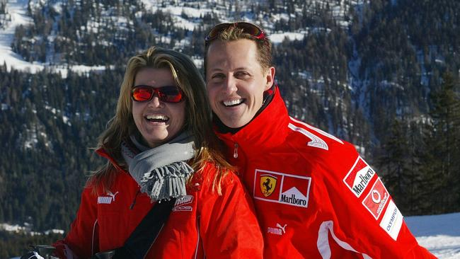 Michael Schumacher with his wife Corinna. Picture: AFP