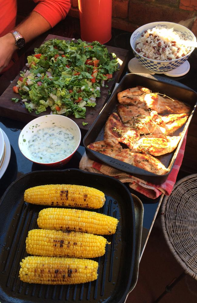 The finished product: Killer Jerk chicken, Rice & Beans, Refreshing chopped salad, Chargrilled corn