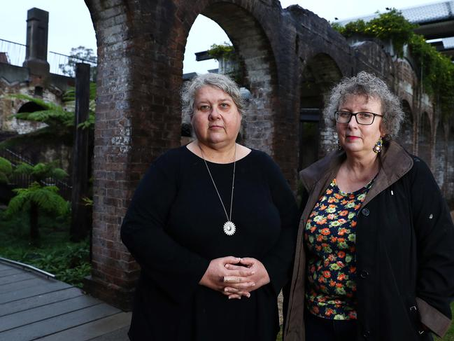 Kate (left) and Rozanna Lilley who say their famous mother failed to protect them from sexual predators on the arts scene. Picture: John Feder/The Australian