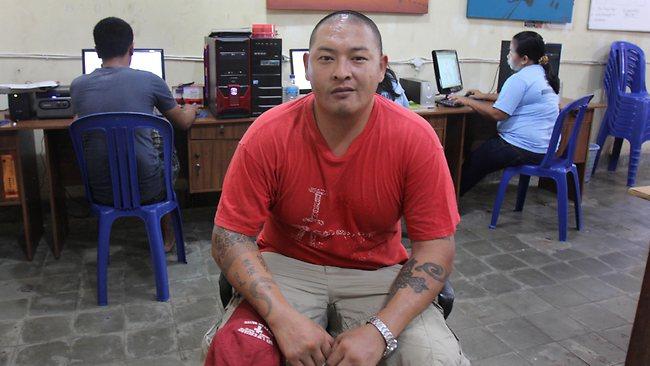 Andrew Chan inside a workshop at Kerobokan Jail in Bali. Picture: Bintoro Luckman
