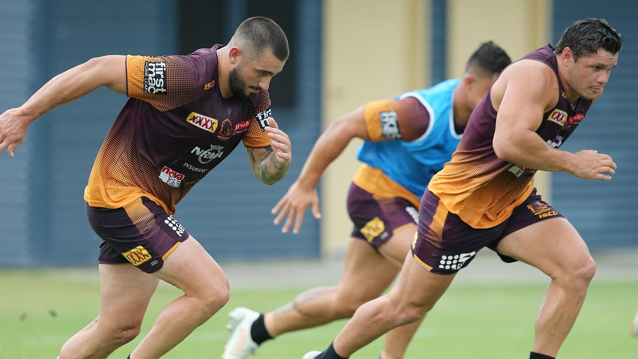 Jack Bird and James Roberts will partner in the centres for the Broncos in 2019. (AAP Image/Jono Searle)