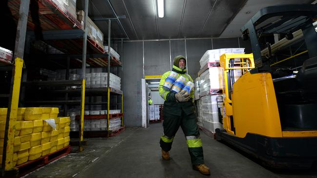 Rob Meaney wears Arctic gear to work in the Golden North Ice Cream coolroom at Laura. The temperature is -23C. Picture: BERNARD HUMPHREYS