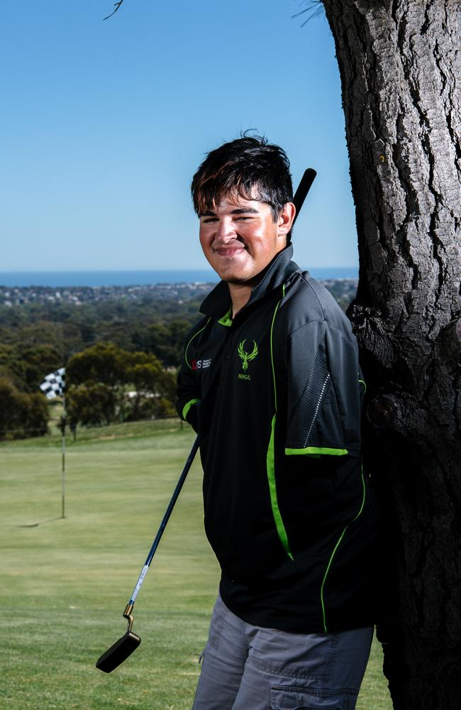 Aidan Barry at Thaxted Park Golf Club. Aidan was born with a condition which has meant his arms and legs weren't formed properly, but he still manages to play golf, mentor others and speak publicly about the importance of sport for people with disabilities. Picture: AAP Image/ Morgan Sette