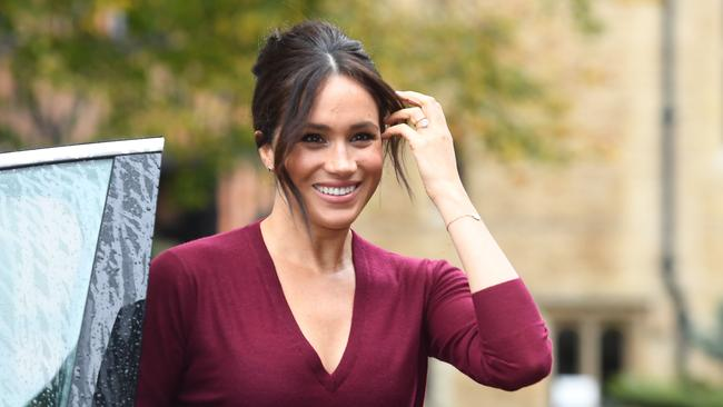 The Duchess stepped out in a maroon ensemble at Windsor Castle. Picture: Jeremy Selwyn/POOL/AFP