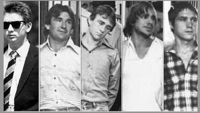 Five men who murdered Anita Cobby in 1986. From left: John Travers, Michael Murphy, Leslie Murphy, Gary Murphy and Michael Murdoch.