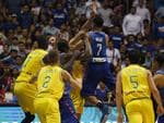 The Philippines and Australian basketball players react, during the FIBA World Cup Qualifiers Monday, July 2, 2018 at the Philippine Arena in suburban Bocaue township, Bulacan province north of Manila, Philippines. Australia defeated the Philippines 89-53 via default following a brawl in the third quarter. (AP Photo/Bullit Marquez)