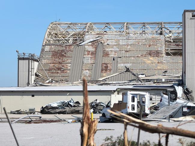 A damaged hanger is seen on the grounds of Tyndall Air Force Base after Hurricane Michael passed through the area. Picture: AFP