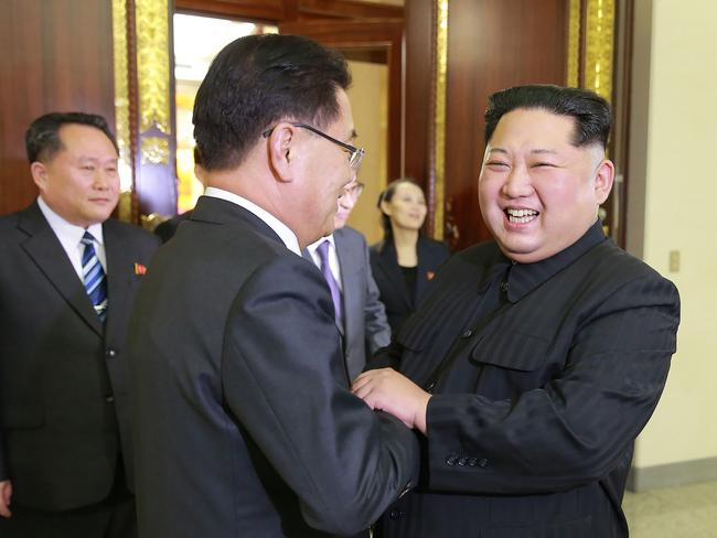 Kim Jong-un met with South Korean chief delegator Chung Eui-yong earlier this month. Picture: AFP/KCNA via KNS
