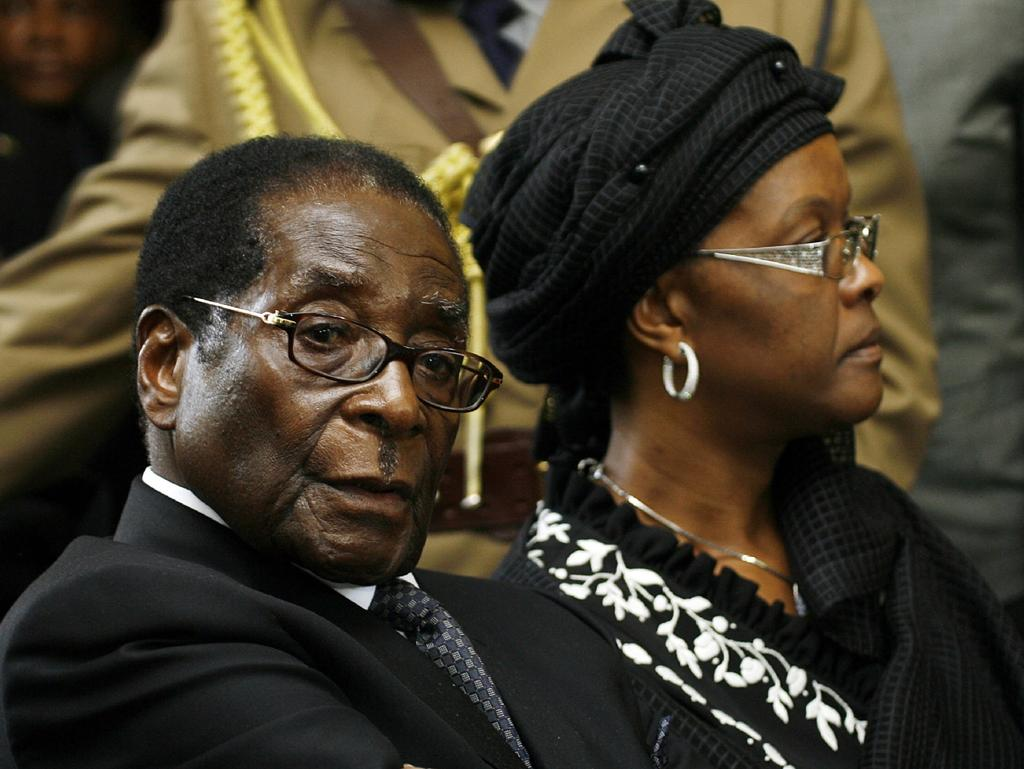 Robert Mugabeand his wife Grace pictured in 2009. Picture: AFP/Desmond Kwande