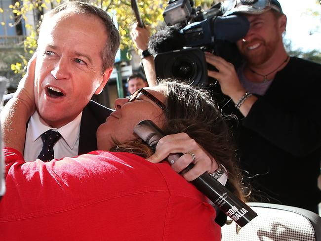 Shorten looked shocked as things got steamy. Picture: Kym Smith