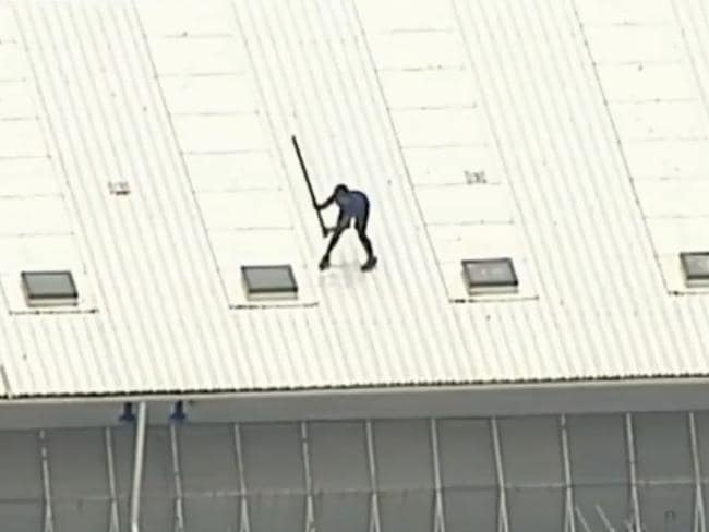 One of the boys was filmed smashing skylights. Picture: Nine News/Channel 9