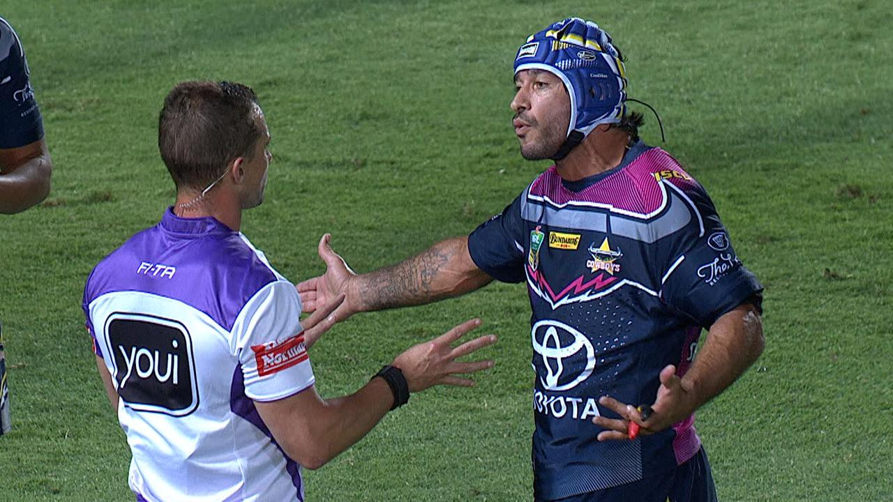 Johnathan Thurston blows up after eight-point try call.