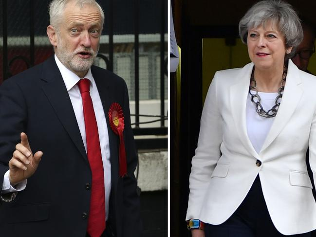 Opposition Labour party leader Jeremy Corbyn (L) and British Prime Minister Theresa May. Picture: AFP