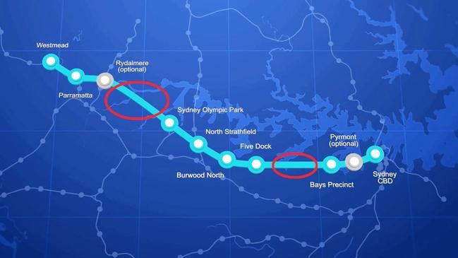 The route of the new Sydney Metro West includes long stretches in populated areas with no stations. Picture: NSW Government.