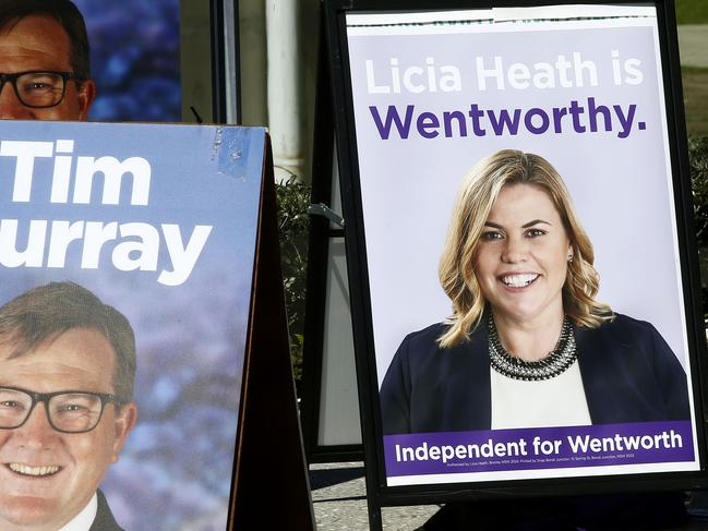 Candidate posters for Tim Murray and Licia heath in Waverley Park for the Wentworth By-election. Picture: John Appleyard