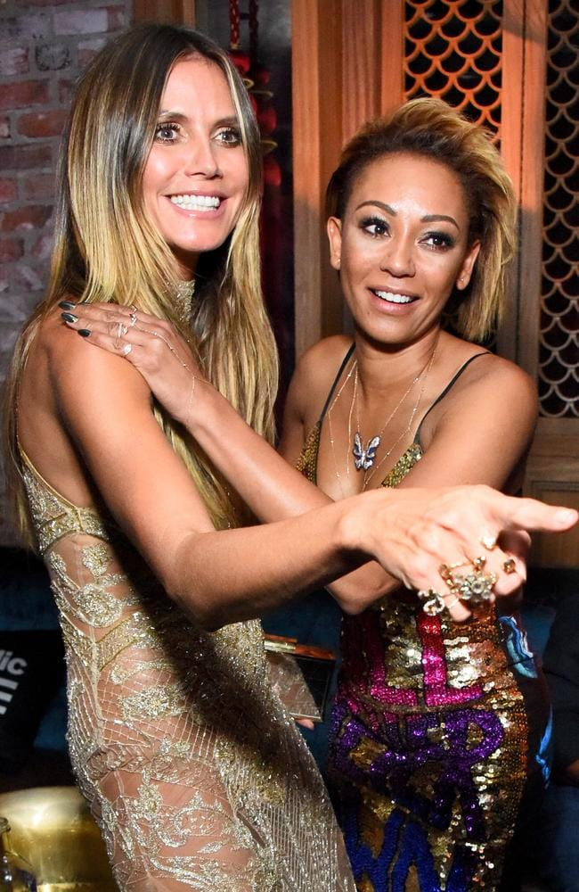 Heidi Klum and Mel B at the VMAs after-party hosted by Republic Records and Cadillac at TAO. Picture: Araya Diaz/Getty Images for Republic Records