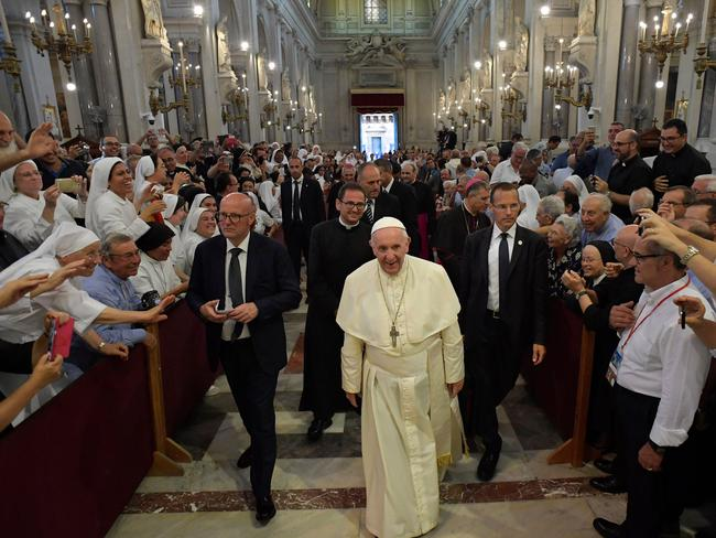 Pope Francis arrives at the cathedral of Palermo. Picture: AFP