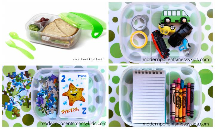 "6. REPURPOSE BENTO BOXES FOR GAMES AND ACTIVITIES  <p>Bento-style snack boxes are available at most Hot Dollar shops and you can use them to store games and activities for road trips. <a href=""http://www.modernparentsmessykids.com/"">Images via modernparentsmessykids.com</a></p>"