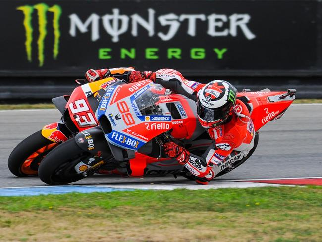 Lorenzo muscled his way past Marquez several times. Pic: MotoGP.com