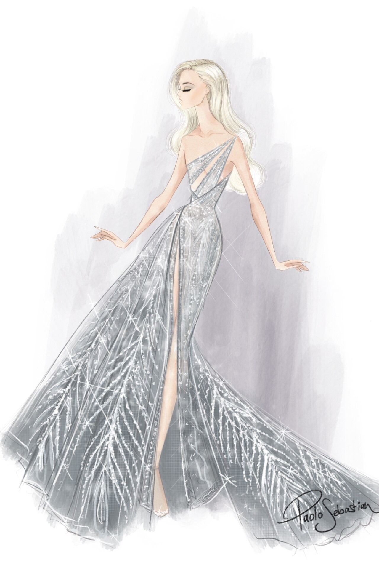 The sketch of Poppy Delevingne's Paul Vasileff-designed Paolo Sebastian gown. Image credit: supplied