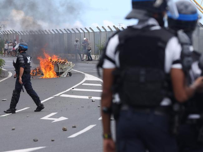 The protest against the cruise ship's arrival. Picture: Richard Bouhet/AFP