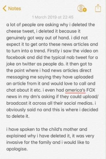 The heartfelt apology posted to Twitter. Source: Twitter