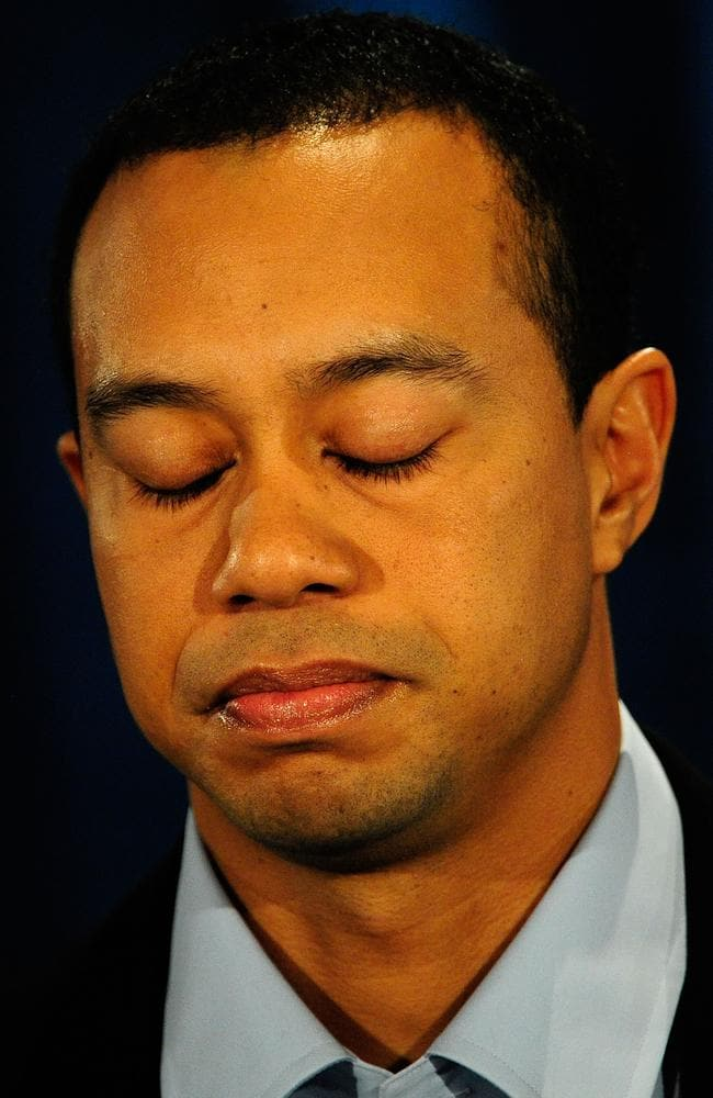 Tiger eventually made an emotional confession. Picture: Sam Greenwood/Getty Images/AFP