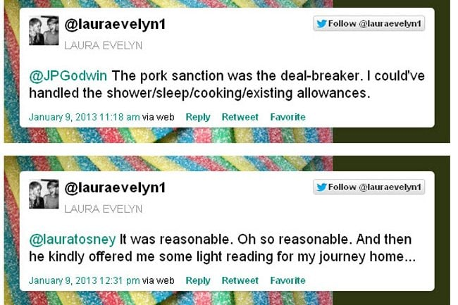 Laura Evelyn's tweets aboutthe incredible demands fromthe landlord. Picture: via Twitter