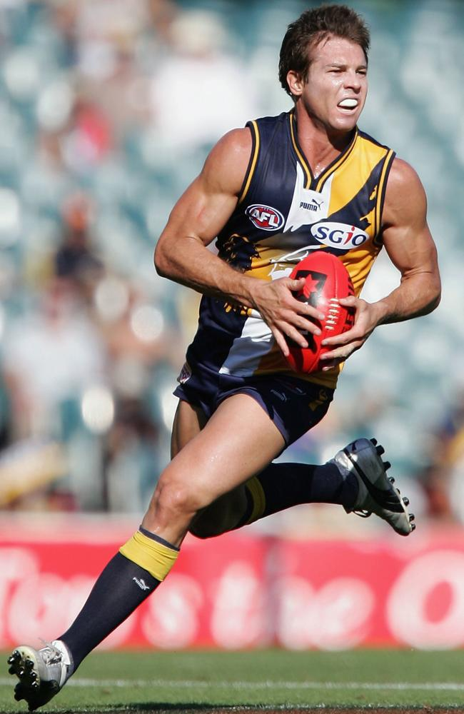 Ben Cousins in full flight for the Eagles in 2006. Picture: Paul Kane/Getty Images