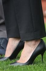 DUBLIN, IRELAND - JULY 11: Meghan, Duchess of Sussex, shoe detail, at Croke Park, home of Ireland's largest sporting organisation, the Gaelic Athletic Association during her visit with Prince Harry, Duke of Sussex, to Ireland on July 11, 2018 in Dublin, Ireland. Picture: Chris Jackson - Pool/Getty Images