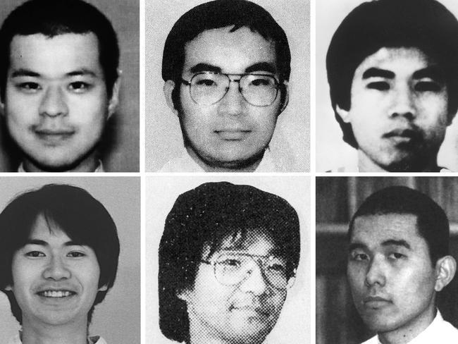 Aum Shinrikyo doomsday cult officers (L-R) top row: Tomomasa Nakagawa, Masato Yokoyama, Satoru Hashimoto; bottom row: Kenichi Hirose, Seiichi Endo and Toru Toyoda were behind the 1995 attack.