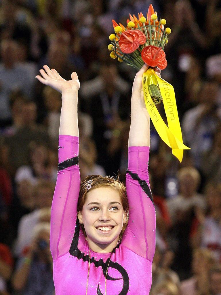 Australia's Chloe Gilliland (then Sims) after winning gold at the 2006 Commonwealth Games in Melbourne.