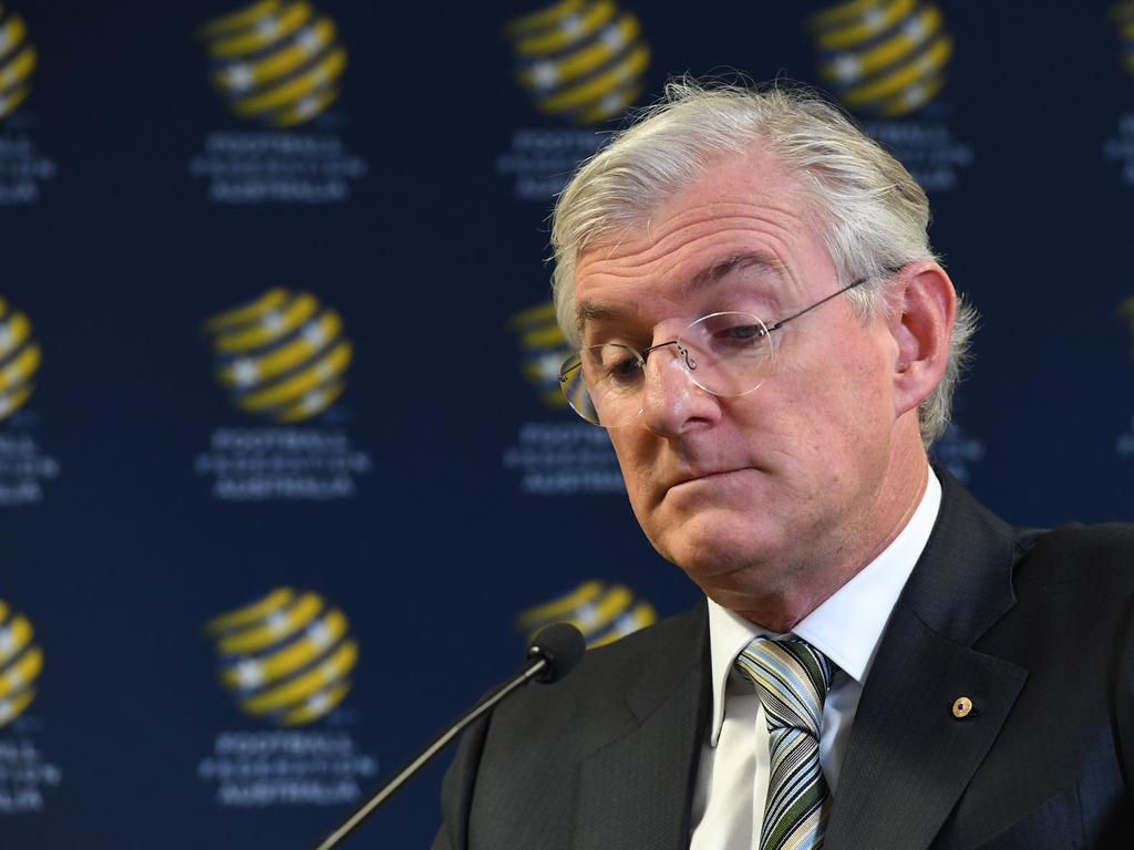 FFA Chairman Steven Lowy is seen addressing the media at the FFA offices, in Sydney, on Friday, August  17, 2018. Football Federation Australian chairman Steven Lowy is reportedly set to resign his position in November. (AAP Image/Petter Rae) NO ARCHIVING
