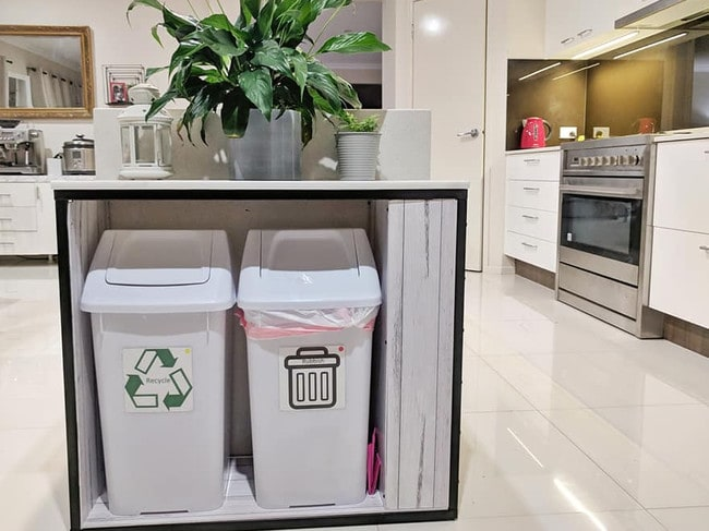 Priya's DIY project resulted in a multipurpose trash station. Picture: Facebook