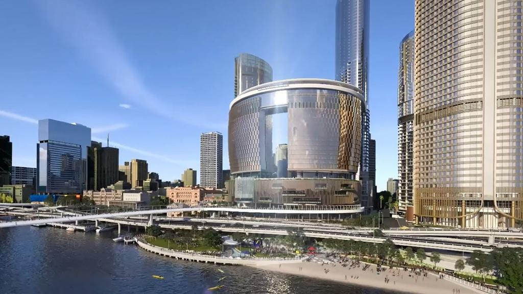 Artist impression of the changes to the Brisbane River and City for the Queens Wharf development, Brisbane.
