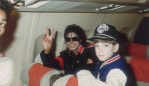 Michael Jackson with 10 year old Jimmy Safechuck on the tour plane on 11th of July 1988. Image: Getty.
