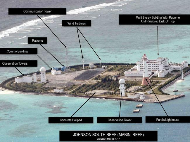 Photos show Beijing's militarisation of South China Sea in new detail. China accused of building 'island fortresses' as Philippine newspaper obtains aerial images Installations on Johnson South Reef. Photograph: Inquirer.net/Philippine Daily Inquirer