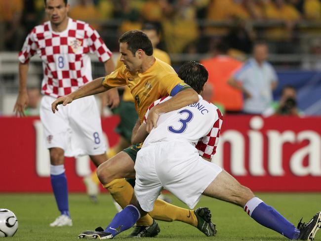 Mark Viduka of Australia vs Josip Simunic of Croatia during the FIFA World Cup Germany 2006.